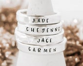 Stacking Name Rings Christmas Gifts for Mom Set of Rings Presents For Friends Gifts For Teen Girls