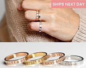 Stacking Rings Engraved Ring Personalized Ring Gold Ring Coordinate Rings Gift Unique Ring for Women Initial Rings Custom Jewelry R4