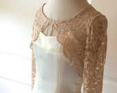 Stretch Lace Wedding/Prom Shrug/Bolero/Jacket in Champagne, Blush, Ivory, Black ,White,Navy/ Silver/Gray XS to 5XL Plus size Style No. 202