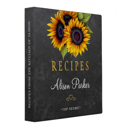 Sunflowers bouquet chalkboard rustic recipes Binder