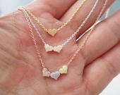 Teeny Tiny heart necklace, dainty 3 heart necklace, three sister gift, gift for best friend ,delicate necklace, bridesmaid gift