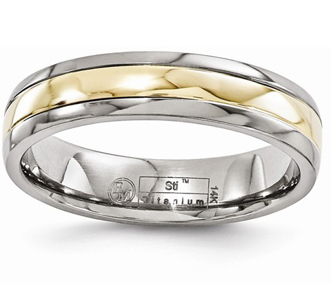 Titanium Wedding Band Ring with 14K Gold Inlay