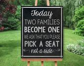 Today Two Families Become One Sign DIY Wedding Wedding Chalkboard Print