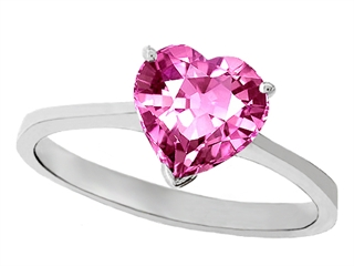 Tommaso Design™ Created Pink Sapphire Heart Shape 8mm Solitaire Engagement Ring