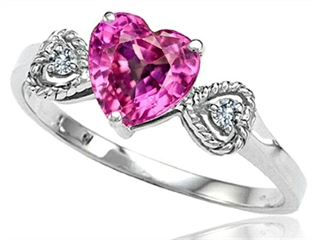 Tommaso Design™ Created Pink Sapphire Heart Shape Engagement Promise Ring