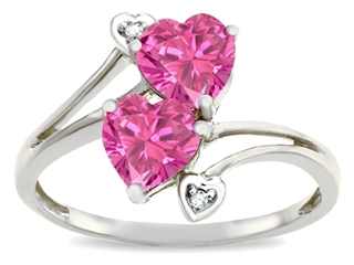 Tommaso Design™ Heart Shape 6mm Simulated Pink Tourmaline Ring