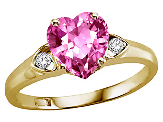 Tommaso Design™ Heart Shape 8mm Created Pink Sapphire Ring