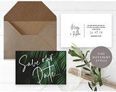 Tropical Palm Save the Date, Printable Tropical Save the Date, Beach Save the Date, Island Wedding Save the Date, Destination Wedding Invite