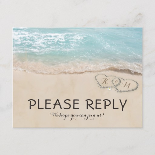 Tropical Vintage Beach Heart Shore Wedding RSVP Invitation Postcard
