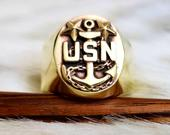 US Navy Master Chief Brass or Silver Ring