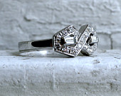 Unique Vintage 14K White Gold Diamond Ring Band with Baguette and Round Diamonds 0.44ct.
