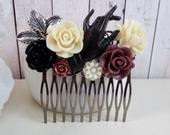 Victorian Ladys Hand Black Silver Gothic Bridal Hair Comb Silver Champagne Burgundy, Vintage Hair Accessory He Loves Me