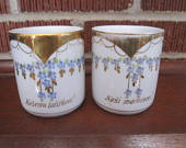 Vintage Antique Pair of Czech Father Mother Mugs