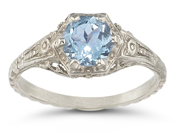 Vintage Floral Blue Topaz Ring in .925 Sterling Silver