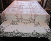 Vintage Heirloom Pointe de Venise Needle Lace 59x112 Banquet Tablecloth