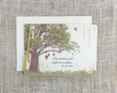 Vintage Spring Oak Tree with Lanterns and Wildflowers 4pg Booklet Wedding Invitation with Tear off RSVP postcard and A7 Envelopes