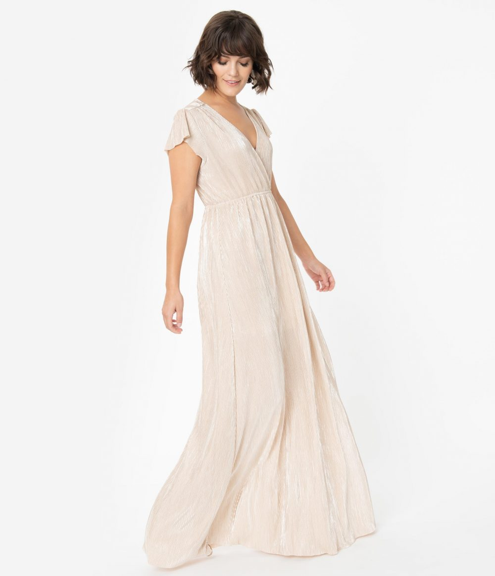 Vintage Style Champagne Shimmer Ribbed Cap Sleeve Maxi Dress