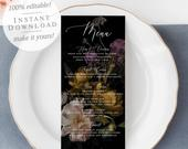 Vintage Wedding Menu, Autumn Boho Wedding Decor, Bridal Shower Menu, INSTANT DOWNLOAD, Printable Personalized Menu Template 17