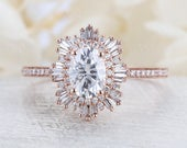 Vintage moissanite engagement ring 14k rose gold diamond band Art deco ring wedding woman Unique Jewelry Anniversary Promise gift for her