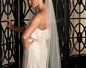 Waltz Veil with Raw Cut Edge White, Diamond White, Ivory, Blush or Champagne