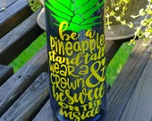 Water Bottle/Be a Pineapple/Motivational/24oz/Water Tracker/Water Reminder/Glitter/Straw/Flip Lid/Handle/Mothers Gift/To go cup
