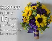 Wedding Bouquet, Bridal Bouquet, Bridesmaid Bouquet, Silk Flower Bouquet, Wedding Flower, Sunflower, yellow, purple, burlap, Lily of Angeles