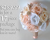 Wedding Bouquet, Bridal Bouquet, Bridesmaid Bouquet, Silk Flower Bouquet, Wedding Flower, rose gold, rosegold, blush, peach, Lily of Angeles