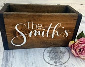 Wedding Card Box Wedding Card Holder Wedding Advice box Wood Card Box Rustic wedding card box Last name card box Personalized