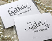 Wedding Card to Your Brother or Sister Siblings of the Bride or Groom Cards In Law To My Sister on My Wedding Day Card for Gift CS15