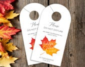 Wedding Door Hangers Autumn Wedding Hotel Door Hangers Hotel Box Wedding Favor Destination Wedding Favor Do Not Disturb