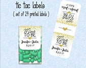 Wedding Favor Mint to be tic tac labels, stickers customized (set of 24 printed labels) Faux gold, Bridal shower, Anniversary TIC78869