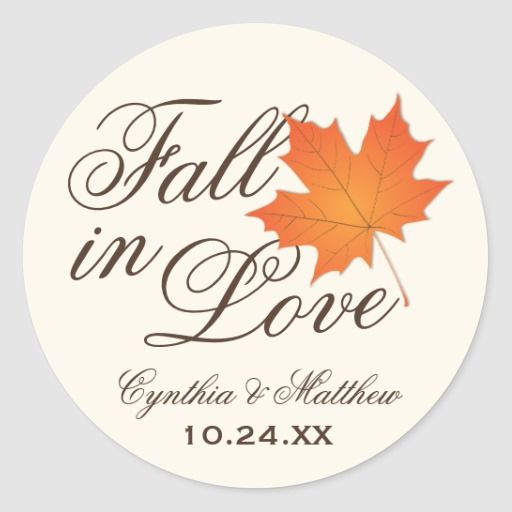 Wedding Favor Sticker Fall in Love Theme