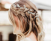 Wedding Hair Accessory Perfect For The Boho Bride, Silver Or Gold Babys Breath Hair Vine