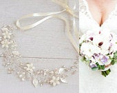 Wedding Headband, Crystal Flower Leaf Bridal Hair Accessories, Boho Hair Vine, Vintage Style Halo, Bridal Hair Jewelry, Rose Gold, JESSICA