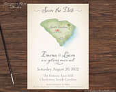 Wedding Map Save the Date, Vintage Watercolor Map Invitation, Destination Wedding, Elopement Announcement Reception, Any Location, Deposit