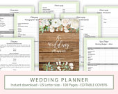 Wedding Planner Printable, Ultimate Rustic wedding planner organiser, PDF instant download, Wedding planner inserts
