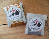 Wedding Tea Party Favors, Personalized Wedding Tea Bag Favor, Love is Brewing Favor Stickers, Tea Cup Favor, ParTea Favor, Wedding Tea Bags