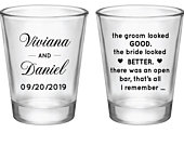 Wedding favors for guests in bulk, the groom looked good the bride looked better, wedding shot glasses