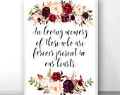 Wedding remembrance, in loving memory, forever in our heart, condolence signs, condolence sign, memorial print, bereavement gifts A100