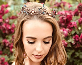 Whimsical Hair Crown Tiara Perfect For Quinceanera, Garden Wedding Hair Accessory