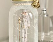 White Christmas Nutcracker Light Up Mason Jar