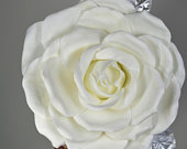 White Over Size Rose Headband Wedding Hat Kentucky Derby Hat Church Hat White Coctail Hat Couture Fascinator Bridal Hat
