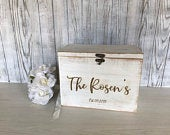White Rustic Wooden card box personalized lockable card box rustic card box wooden card box
