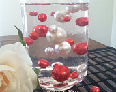 White/Red Jumbo Floating Pearls For Vase Fillers/HolidayValentine Wedding Centerpiece, Table Confetti, Scatters