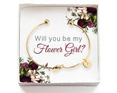 Will you be my Flower Girl Gift, Personalized Flower Girl Proposal Gift, Tie the Knot Initial Bracelet, Wedding Party Gift Box, Gold Bangle