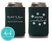 Winter Wonderland, Winter Wedding Custom Can Cooler Personalized Wedding Favor Party Gift Anniversary Favor Engagement Favor 3D237
