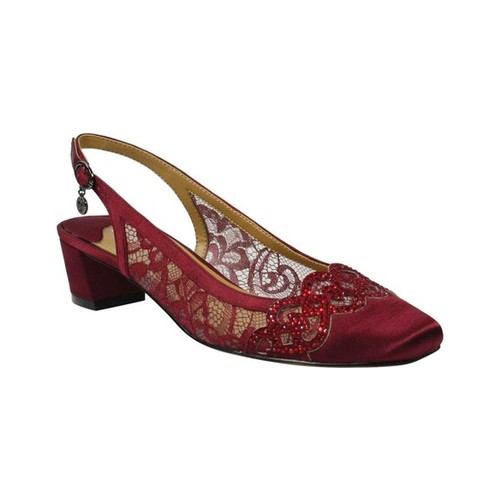 Women's J. Renee Faleece Low Block Heel Slingback, Size: 6 M, Burgundy Fabric