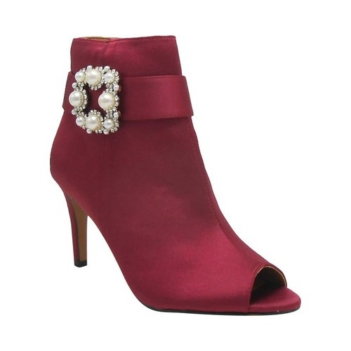 Women's J. Renee Pranati Open Toe Bootie, Size: 9.5 M, Burgundy Satin
