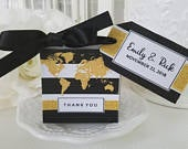 World Glitter Map Favor Boxes 40 at 1.00 ea. map designs with personalized tag and jute or satin ribbon simple assembly