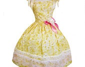 Yellow Roses Pink Tea Party Dress Custom made to your size full skirt lace details with bow frilly girlie princess straps floral lolita